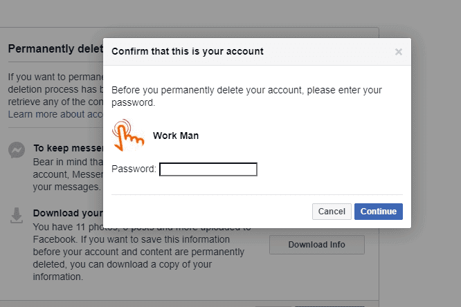 Confirm With Your Password To Delete Facebook Account Permanently
