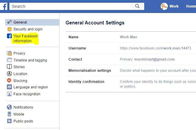 Facebook Account Setting General Information