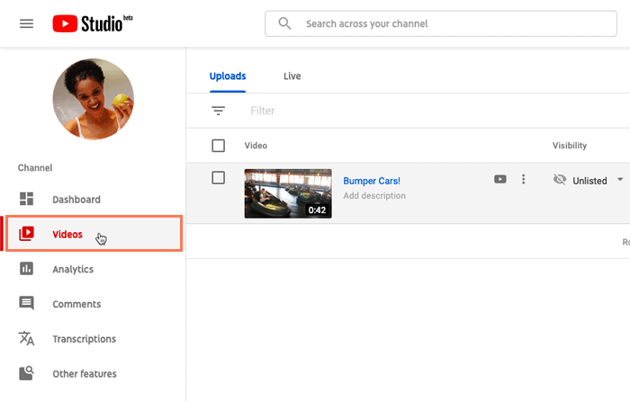 Go to YouTube Studio To Delete Youtube Video