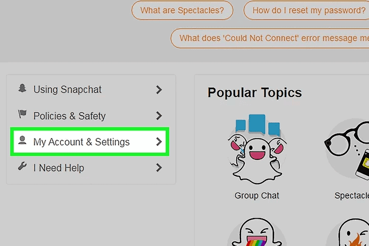 Snapchat My Account & Settings
