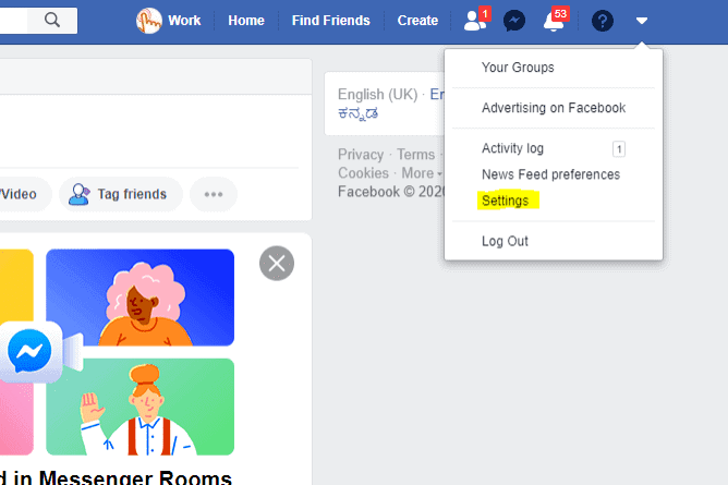 Step To Enter Facebook Settings