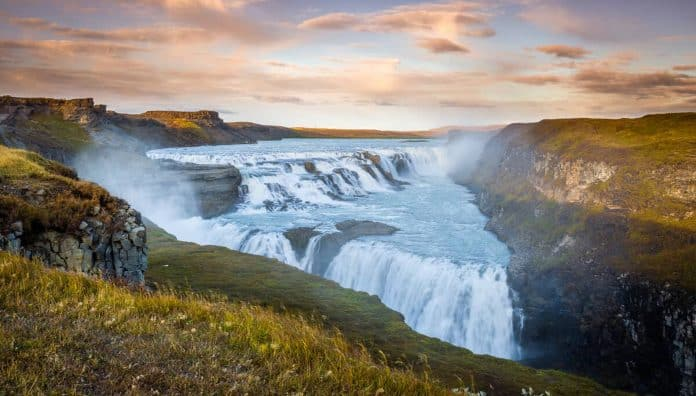Beautiful Waterfalls In The World Is Gullfoss Golden Falls In Iceland