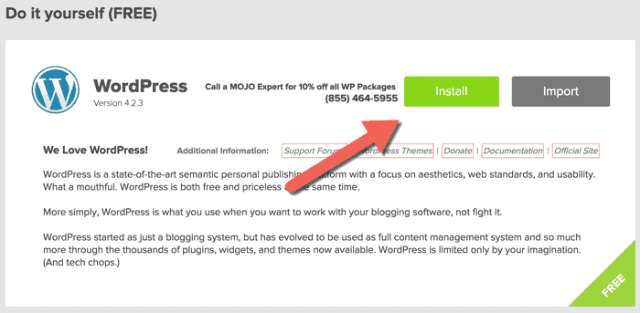 Quick Install Will Now Start Loading Your Website With WordPress