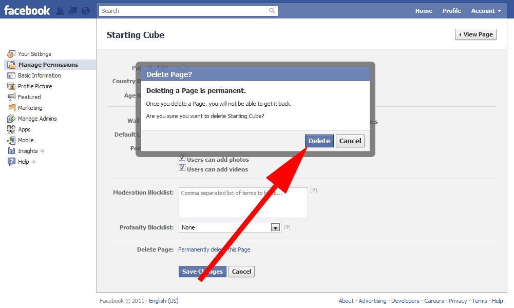 To Delete Facebook Page Click Delete Button And Click Ok